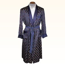 Vintage 1940s Mens Dressing Gown by British Gown Blue Satin Size M