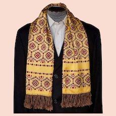 1940s Mens Fashion Foulard Vintage Fringed Scarf Yellow w Red & Black Print