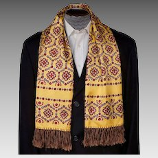 1940s Mens Fashion Foulard Vintage Fringed Scarf Yellow w Red & Black Print