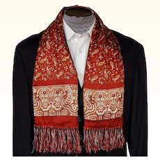 Vintage 1940s Fringed Red Opera Scarf by Majestic Mens Fashion Foulard