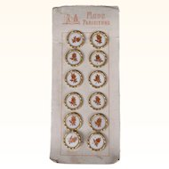 Antique Buttons on Card Unused Victorian Era Mode Parisienne Painted Glass & Metal