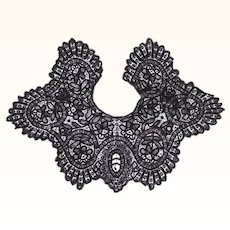 Antique Black Lace Collar Victorian Mourning Neck Piece Hand Made