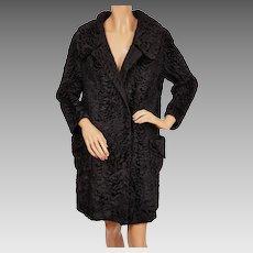 Vintage 1960s Black Astrakhan Broadtail Lamb Fur Coat - Ladies - M