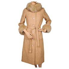 Vintage 1970s Boucle Tweed Wool Coat with Fox Fur Trim - Yves Deflandre Paris - Size S