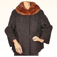 Vintage 1950s Black Curly Lamb Fur Jacket w Mink Collar  - Swear & Wells Canada - M