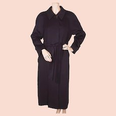 Vintage 1980s Aquascutum Pure Cashmere Coat Navy Blue Ladies - Size M - Made in England