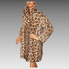 Vintage 1960s Faux Fur Leopard Coat 1960s Acrylic Pile Lou Ritchie Ladies Size M