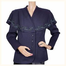 Vintage 1940s Beaded Jacket with Capelet Collar - Navy Blue - Ladies - M