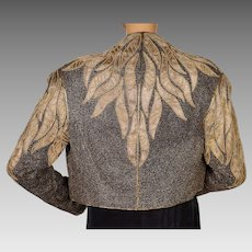 Vintage Gold Metallic Embroidered Silk Jacket 1980s Does 40s Fashion Ladies M