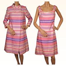 Vintage 1960s MOD Pink Silk Brocade Coat and Dress - M