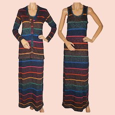 Vintage 1970s Striped Lurex Knit Dress with Jacket Renee Tener for Outlander Sml