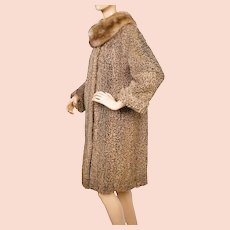 Vintage 1960s Brown Curly Lamb Fur Coat with Mink Collar - M
