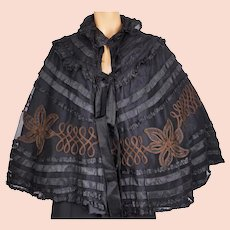 Antique Victorian Mourning Cape Black Silk on Net Mantelet or Capelet