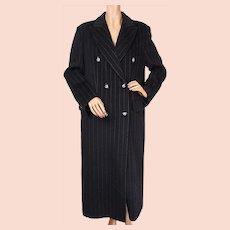 Vintage 1990s Pinstriped Wool Coat -  Pierre Cardin Paris - Ladies M