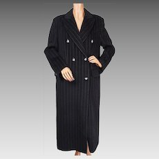 Vintage 1990s Pinstriped Wool Coat -  Pierre Cardin Paris - Ladies M