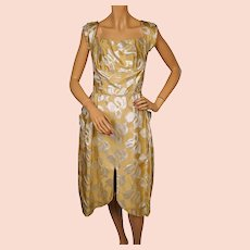 Vintage 1960s Cocktail Dress Silver Lame Pattern Ochre Gold Satin Size S