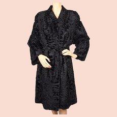 Vintage Broadtail Fur Coat Black Astrakhan Lamb Ladies Size Medium 1978
