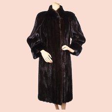 Vintage Valentino Furs Dark Mahogany Mink Coat Size Medium