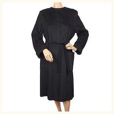 Vintage 1980s Jaeger Pure Cashmere Coat - Black - Ladies Medium