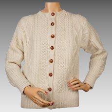 Vintage Irish Aran Hand Knit Cardigan Sweater Round Tower Carroll Clan Ladies Size 36