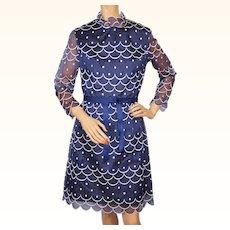 Vintage 1960s Dress Marcel Fenez Designed by Roland Klein Silk Organza Size M