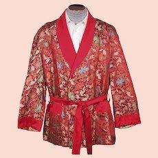 Vintage Smoking Jacket Red Satin Woven Floral Foliate Pattern 1950s Mens Size L XL