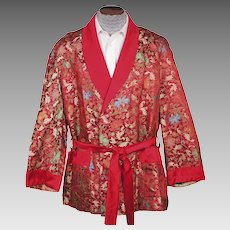 Vintage Smoking Jacket Red Satin Woven Floral Foliate Pattern 1950s Mens Size L XL
