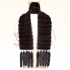 Vintage Mink Fur Scarf with Tail Tassels Dark Mahogany Stole Shrug 95 Inches