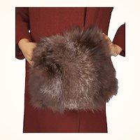 Vintage 1940s Silver Fox Fur Muff with Zippered Compartment