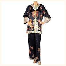 Vintage 1930s Chinese Embroidered Black Silk Pajamas - Hostess Pyjamas - PJs - M / L