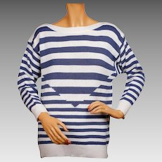 Vintage 1980s Cacharel Paris Blue and White Striped Sweater - Nautical Style - Ladies Size 1 - S / M
