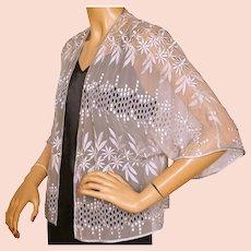 Vintage 1940s Gray Chiffon Bolero Jacket with Embroidery and Eyelet Work