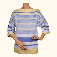 Vintage 1980s Escada Yellow Blue and White Striped Linen and Rayon Sweater - S