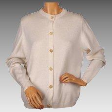 Vintage 1970s Scottish Cashmere Sweater by Ballantyne White Cardigan Ladies L