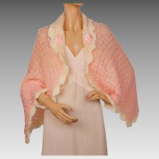 Vintage 1920s Bed Jacket Cape Shrug Hand Crochet Knit Wool Pink & White
