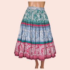 "Vintage 1950s Circle Skirt Paisley Cotton 31"" Waist"
