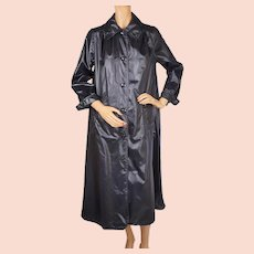Vintage 1970s Saks Fifth Avenue Rain Coat Black Treated Nylon Ladies Size M