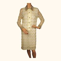 Vintage 1960s Yellow Beaded Lace Dress  Party Dress - S