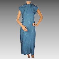 Vintage 1930s Chinese Blue Silk Cheongsam Dress Authentic Hand Sewn