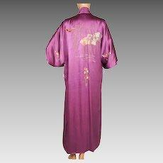 Vintage 1960s Violet Silk Kimono - Hand Embroidered - M