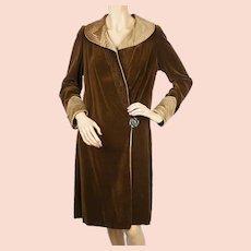 Vintage 1920s Flapper Coat Brown Velvet Ladies Size Small