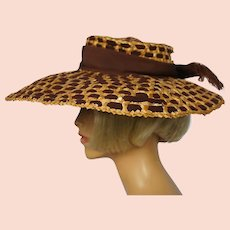 Vintage 1930s Straw Hat with Ribbon Wide Brim Made in France Ladies Size S