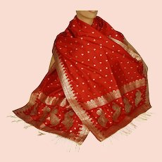 Vintage Indian Red Silk Shawl Woven With Gold Formal Sari Scarf Mundai