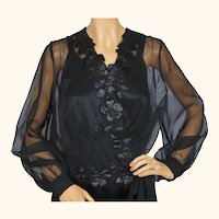 Vintage 1970s Black Organza Blouse with Floral Applique Size Large