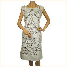 Vintage 1960s Moygashel Irish Linen Dress Off White Floral Cutout Size M