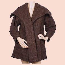 Vintage 1950s Wool Swing Jacket Coat by Couturier Lillian Farrar Montreal Size M
