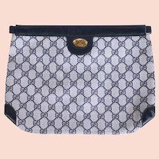 Vintage Gucci Logo Clutch Purse Canvas & Leather Authentic 1970s 80s