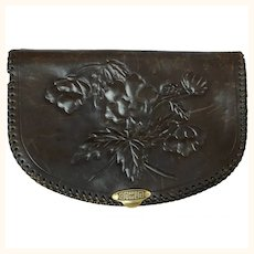 1930s Tooled Leather Clutch Purse - Poppy Flowers and Anna Name Inside the Handbag