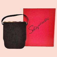 1950s Schiaparelli Paris Handbag - Black Antelope Suede Purse