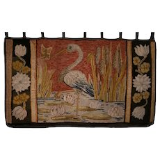 Antique Pictorial Hooked Rug Heron Pattern  - Maine Waldoboro - Wall Hanging - Large